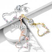 Double Jeweled Prong Set with Enamel Flowers and Opalite Ston Set Heart Dangle 316L Surgical Steel Belly Button Navel Rings