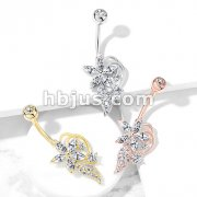 Five Marquise CZ Flower CZ Cluster Stem Bouquet 316L Surgical Steel Belly Button Navel Rings