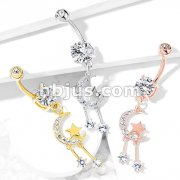 CZ Paved Crescent Moon and Star with Round CZ Dangle 316L Surgical Steel Belly Button Navel Rings