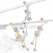 Two Pear CZ Ribbon with Round Crystal on Chain Dangle 316L Surgical Steel Belly Button Navel Rings