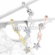 Six CZ Flower and Two Overlapping Diamonds Dangle 316L Surgical Steel Belly Button Navel Rings
