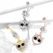 Crystal Paved Owl with Black Crystal Eyes Dangle 316L Surgical Steel Belly Button Navel Rings
