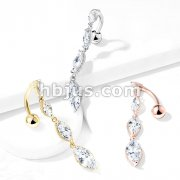 Four Marquise CZ Vertical Drop 316L Surgical Steel Top Drop Belly Button Navel Rings