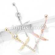 CZ Paved Cross with Wings Dangle Double Jeweled 316L Surgical Steel Belly Button Navel Rings