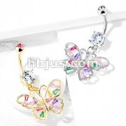 Butterfly with Multi Colored Baguette CZ Wings Dangle 316L Surgical Steel Belly Button Navel Rings
