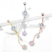 CZ Flower with Pink CZ Center and Marquise CZ Leaf on Vine Dangle 316L Surgical Steel Belly Button Navel Rings
