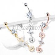 Double Enamel Flower with CZ Center and 4 CZ Flower Dangle 316L Surgical Steel Belly Button Navel Rings