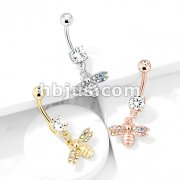 Bee with AB Crystal Paved Wings Dangle Double Jeweled 316L Surgical Steel Belly Button Navel Rings