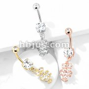 CZ Owl with Heart Shaped Body Dangle Double Jeweled 316L Surgical Steel Belly Button Navel Rings