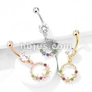 AB Crystal Flowers and Multi Colored Gems Set Circle Dangle Double Jeweled 316L Surgical Steel Belly Button Navel Rings