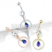 CZ Paved Circle with Pear Shaped Green and Blue Two Tone CZ Dangle Double Jeweled 316L Surgical Steel Belly Button Navel Rings