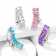 8 Baguette CZ 316L Surgical Steel Top Drop Belly Button Navel Rings