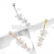 Triple Marquise CZ Flowers Dangle with Gemmed Top 316L Surgical Steel Belly Button Navel Rings