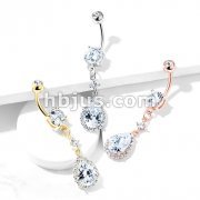 Round CZ Prong Set with Large Tear Drop CZ with CZ Around Dangle 316L Surgical Steel Belly Button Navel Rings