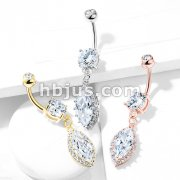 Round CZ Prong Set with Large Marquise  CZ with CZ Around Dangle 316L Surgical Steel Belly Button Navel Rings