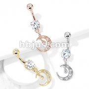 CZ Paved Crescent Dangle Round CZ Set 316L Surgical Steel Belly Button Rings