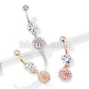 Pink Enamel Cluster with CZ Around Dangle Round CZ Set 316L Surgical Steel Belly Button Rings