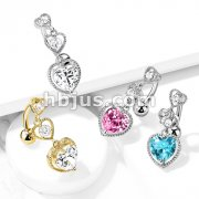 Triple Heart Vertical Drop with Large Heart CZ Bottom Heart Top Drop 316L Surgical Steel Belly Button Rings