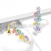 Opalite Crystal Stones and Enamel Flowers Top Drop 316L Surgical Steel Belly Button Rings