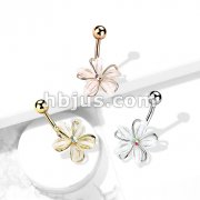 CZ Center Wire Set White Flower 316L Surgical Steel Belly Button Navel Rings
