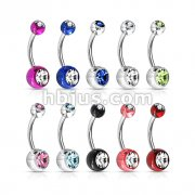 100 Pcs 316L Surgical Steel Navel Rings w/ Double Jeweled Acrylic Balls (10pc x 10 colors)