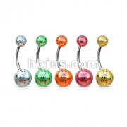 Aurora Borealis Coating Over Splash Acrylic Balls 316L Surgical Steel Navel Ring 100pc Packs (20pcs x 5 colors)
