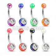 Metallic Coated Acrylic Ball with Single Gemstone 316L Surgical Steel Navel Ring 48Pcs Pack (6pcs x 8 colors)