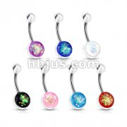 70 Pcs Opal Glitter Set Clear Acrylic Ball Belly Button Navel Ring Bulk Pack (10 pcs x 7 Colors)