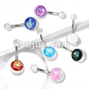 Opal Glitter Set On Clear Acrylic Ball 316L surgical Steel Belly Button Navel Rings