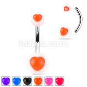 120 pcs Colored UV Heart Center Acrylic Balls 316L Surgical Steel Navel Ring (20pcs x 6colors)