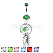 Dream Catcher Woven Star Design with Bead and Feathers Fancy Navel Ring 316L Surgical Steel