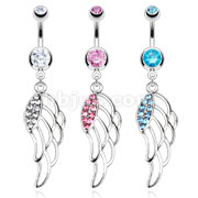 Hollow Angel Wing with Multi Paved CZ Navel Ring 316L Surgical Steel