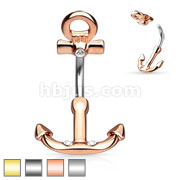 Ship Anchor Navel Ring 316L Surgical Steel