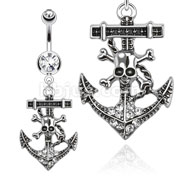 316L Surgical Steel Gemmed Pirate Anchor Dangle Navel Ring