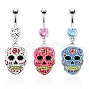 316L Surgical Steel Epoxy Sugar Skull Dangle Navel Rings