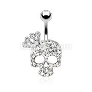 Skull with Paved Gem and Gemmed Four Point Crown Navel Ring
