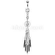 Cascading Round CZ with Black Bars Attached by Chain String Dangle 316L Surgical Steel Navel Ring