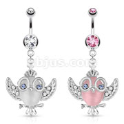 Cats Eye Owl with Crown, Glasses, and with Gem Paved Wings Dangle 316L Surgical Steel Navel Ring