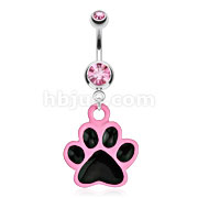 Paw with Black Enamel Plating and Pink Outline Dangle 316L Surgical Steel Navel Ring