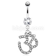 Om with Paved Gem Dangle 316L Surgical Steel Navel Ring