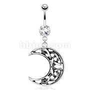 Hollowed Crescent Moon with Weaving Pattern Inside Dangle 316L Surgical Steel Navel Ring