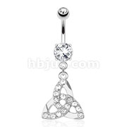 Celtic Knot with Paved Gems Dangle 316L Surgical Steel Navel Ring