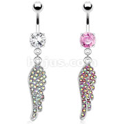 Angel Wing with Paved Gems 316L Surgical Steel Navel Ring