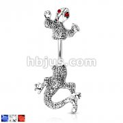 CZ Eyed Chameleon Navel 316L Surgical Steel