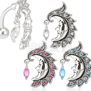 Vibrant Moon with Gem Dangle Top Down 316L Surgical Steel Navel Ring