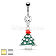 Christmas Tree Dangle 316L Surgical Steel Navel Ring