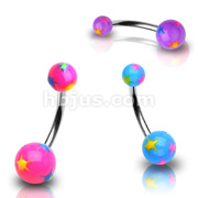 Starburst Multi Colored Acrylic Ball 316L Surgical Steel Navel