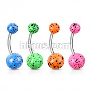 80 Pcs Splatter on Fluorescent Acrylic Ball 316L Surgical Steel Belly Rings Bulk Pack (20 Pcs x 4 Colors)