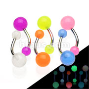 316L Surgical Stainless Steel Navel Rings with Glow In The Dark Balls 240pc Pack (40pcs x 6 colors)