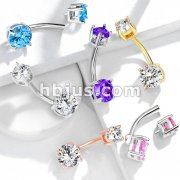 Internally Threaded Top Double Prong Set CZ 316L Surgical Steel Belly Button Navel Rings